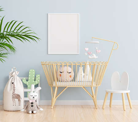 Blue child bedroom with picture frame mockup, 3D rendering