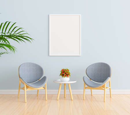 Chair in blue living room with picture frame mockup, 3D rendering