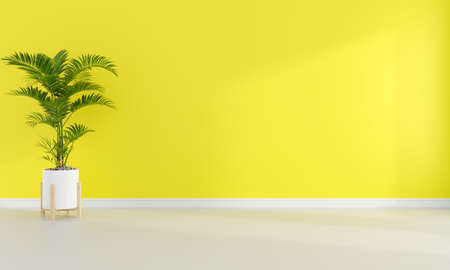 Green plant in yellow living room interior with free space for mockup, 3D rendering