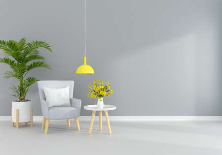 Gray armchair in gray living room with free space for mockup, 3D rendering 版權商用圖片