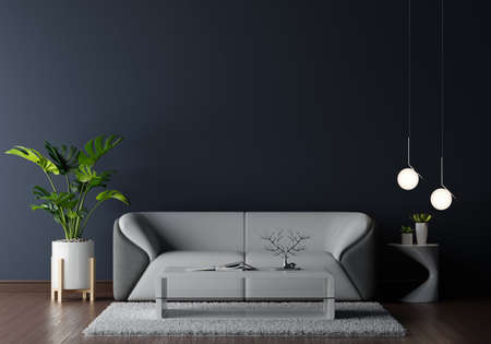 Gray sofa in dark living room wiht free space for mockup,3D rendering 版權商用圖片