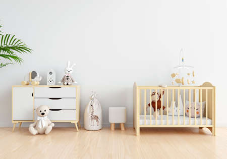 White child room interior with free space for mockup, 3D rendering
