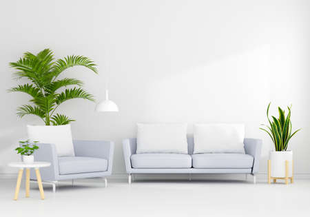 Gray sofa in white living room interior with free space for mockup, 3D rendering