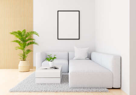 Gray sofa in white living room with frame mockup, 3D rendering 版權商用圖片