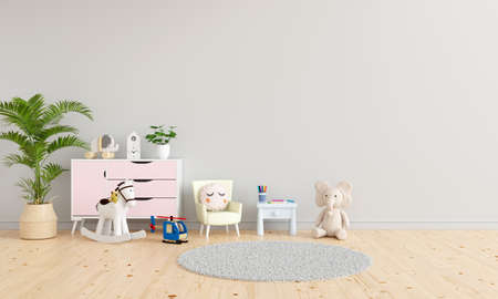 Table and armchair in gray child room interior with free space for mockup, 3D rendering 版權商用圖片