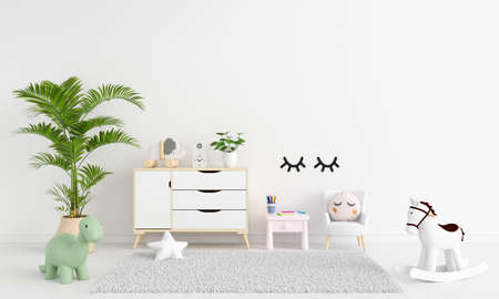 Table and armchair in white child room interior with free space for mockup, 3D rendering