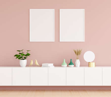 Sideboard in pink living room with picture frame mockup, 3D rendering