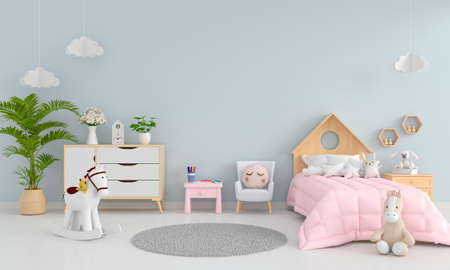 Blue child bedroom interior with free space for mockup, 3D rendering
