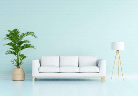 Sofa in blue living interior room with free space for mockup, 3D rendering