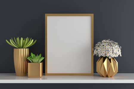 Flower and succulent pot plant with picture frame mockup, 3D rendering 版權商用圖片