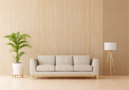 Brown sofa in living room interior with free space for mockup, 3D rendering 版權商用圖片