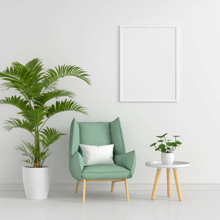 Green armchair in living room with picture frame mockup, 3D rendering