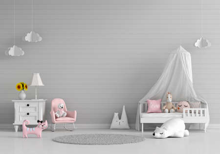 Gray child bedroom interior for mockup, 3D rendering 版權商用圖片