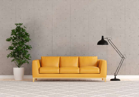 Brown sofa in living room with free space for mockup, loft style, 3D rendering 版權商用圖片