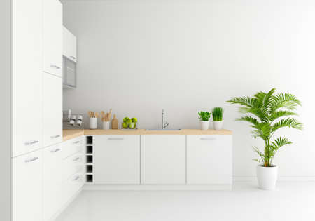Modern white kitchen countertop with free space for mockup, 3D rendering 版權商用圖片