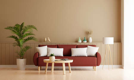 Sofa in brown living room interior with free space for mockup, 3D rendering 版權商用圖片