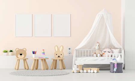 Child bedroom interior with picture frame mockup, 3D rendering