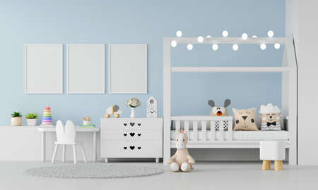 Blue child bedroom interior with picture frame mockup, 3D rendering
