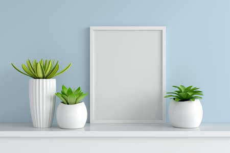 Succulent pot plant with picture frame mockup, 3D rendering 版權商用圖片