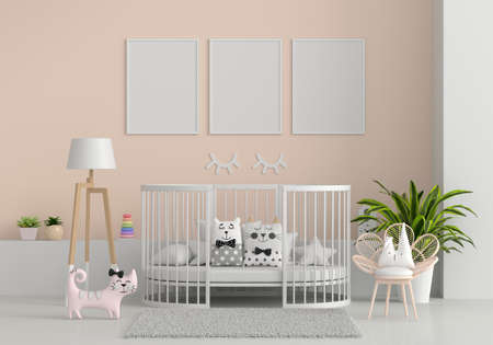 Brown child room interior with frame mockup, 3D rendering 版權商用圖片