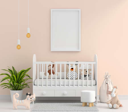 Brown child room with picture frame mockup, 3D rendering 版權商用圖片