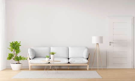 Sofa in white living room with free space for mockup, 3D rendering 版權商用圖片