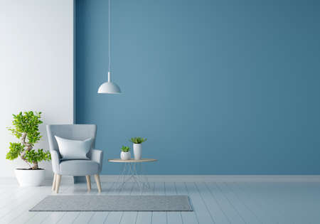 Gray armchair in blue living room with free space for mockup, 3D rendering