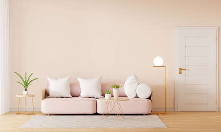 Pink sofa in brown living room interior with free space, 3D rendering 版權商用圖片