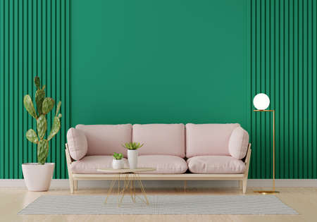 Pink sofa in green living room interior with free space for mockup, 3D rendering