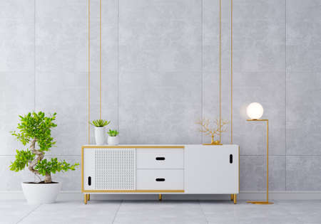 Sideboard in living room interior with free space, 3D rendering 版權商用圖片