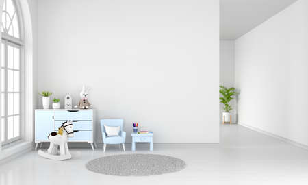 Table and armchair in white child room interior with free space, 3D rendering