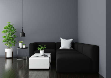 Sofa in gray living room interior with copy space, 3D rendering