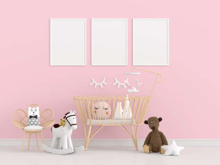 Pink children bedroom with picture frame mockup, 3D rendering