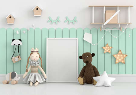 Doll on floor with picture frame mockup, 3D rendering