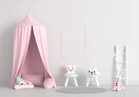 Child room with picture frame mockup