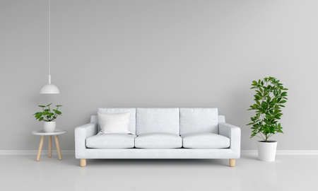 Gray sofa in gray living room with copy space, 3D rendering 免版税图像