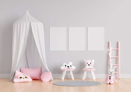 Gray children room with three frame mockup, 3D rendering 免版税图像
