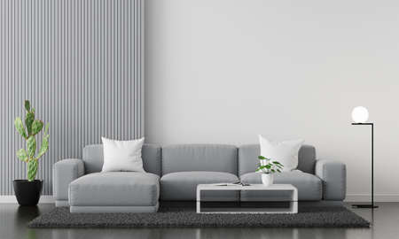 Gray sofa in living room interior with copy space, 3D rendering