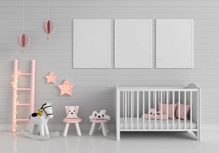 Gray child room with three frame mockup, 3D rendering 免版税图像