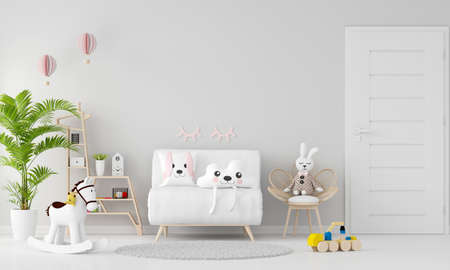 White sofa in child room interior with copy space, 3D rendering 免版税图像