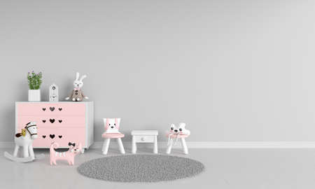 Table and chair in gray children room with copy space, 3D rendering 免版税图像