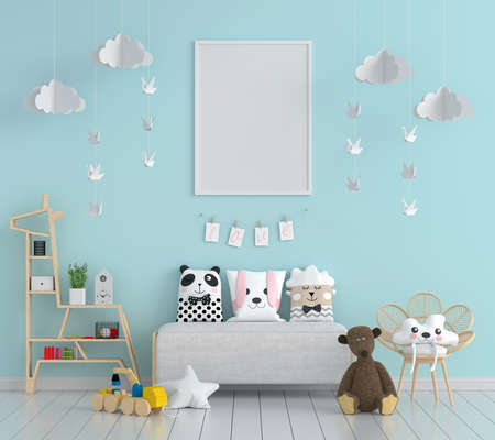 Blue child room with picture frame mockup, 3D rendering