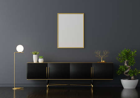 Sideboard in black living room with picture frame mockup, 3D rendering