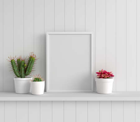 Cactus and succulent pot plant with picture frame mockup, 3D rendering