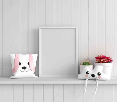 Pillow on shelf with picture frame mockup, 3D rendering 免版税图像