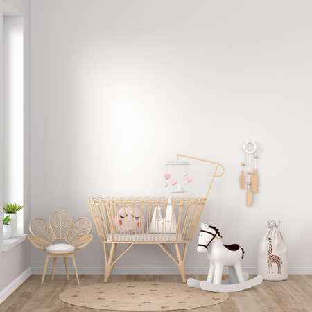 White children bedroom with copy space, 3D rendering