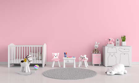 Pink children room interior with copy space, 3D rendering