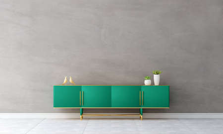 Green sideboard in living room interior with copy space, 3D rendering