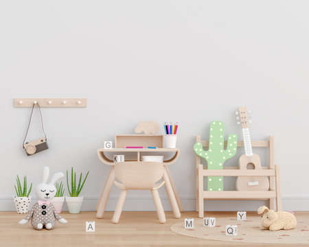 White children room with copy space, 3D rendering
