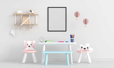 White child room with picture frame mockup, 3D rendering